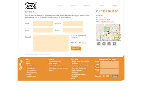 Screenshot of Contact Page avalanchecreative.com.au - Contact | Fuel Studio - captured Oct. 27, 2014