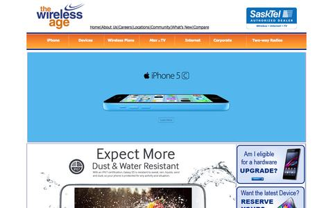 Screenshot of Home Page thewirelessage.com - The Wireless Age your SaskTel Authorized Dealer and authorized Motorola Dealer - captured Sept. 30, 2014