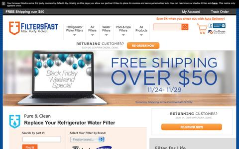 Screenshot of Home Page filtersfast.com - Refrigerator Water Filters, Air Furnace Filters, Pool Spa Filters, Humidifier Wicks - captured Nov. 25, 2016