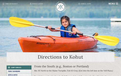 Screenshot of Maps & Directions Page kampkohut.com - Directions to Kohut - Kamp Kohut - captured Aug. 8, 2016