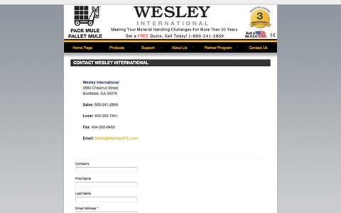 Screenshot of Contact Page wesleyinternational.com - Contact Wesley International Today - captured Oct. 7, 2014