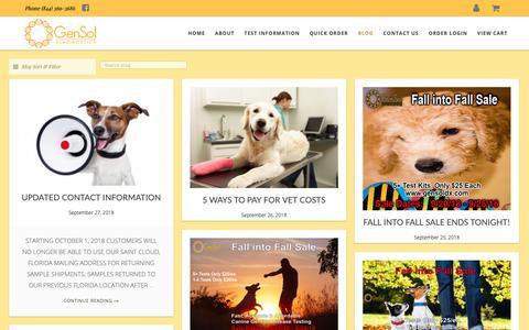 Screenshot of Blog gensoldx.com - The Happy & Healthy Dog Blog   GenSol Diagnostics - captured Sept. 27, 2018