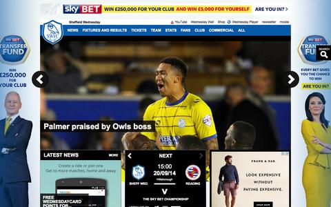 Screenshot of Home Page swfc.co.uk - Official Website of the Owls - Sheffield Wednesday FC latest news, photos and videos - captured Sept. 22, 2014