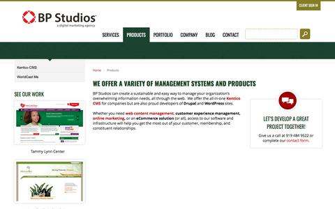 Screenshot of Products Page bpstudios.com - WorldCast CMS | WorldCast Me | WordPress | Raleigh - captured May 31, 2017