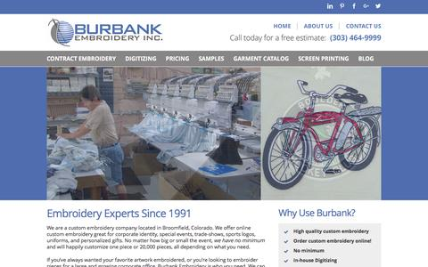 Screenshot of Home Page burbankembroidery.com - Burbank Embroidery | Custom Embroidery in Denver Colorado - captured July 30, 2016