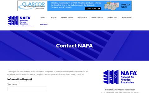 Screenshot of Contact Page nafahq.org - Contact NAFA - National Air Filtration Association - captured Oct. 19, 2017