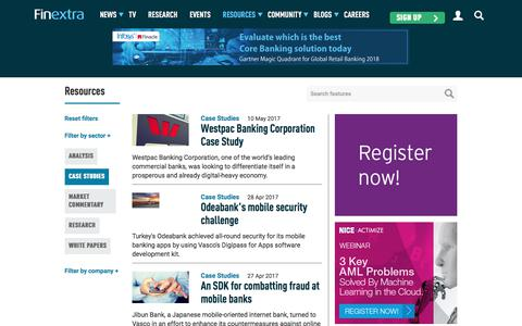 Screenshot of Case Studies Page finextra.com - Finextra Research: Latest financial technology news, analysis, interviews and features. - captured Aug. 13, 2018