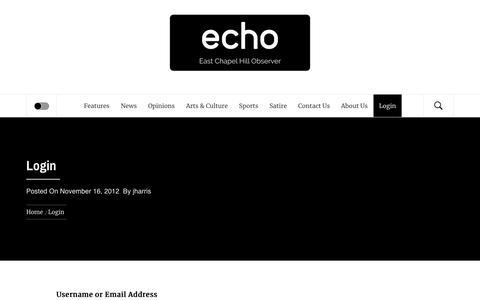 Screenshot of Login Page eastchapelhillobserver.com - Login – ECHO – East Chapel Hill Observer - captured Oct. 31, 2018