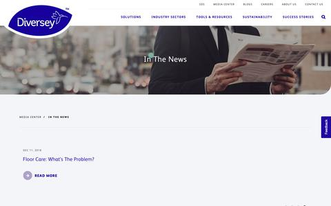 Screenshot of Press Page diversey.com - In The News | Diversey - captured March 22, 2019