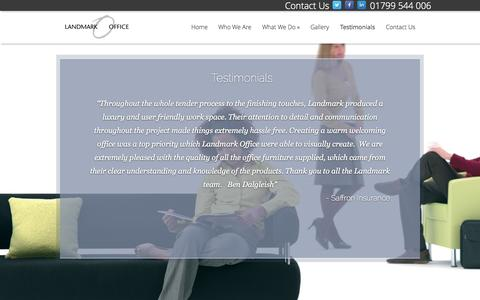 Screenshot of Testimonials Page landmarkoffice.co.uk - Testimonials | Landmark Office - captured Oct. 1, 2014