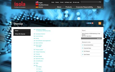 Screenshot of Site Map Page isola-group.com - Isola Group | Sitemap of Isola-Group.com - captured Sept. 30, 2014