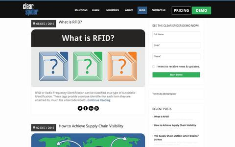 Screenshot of Blog clearspider.com - Inventory Management Software Blog - captured Dec. 9, 2015