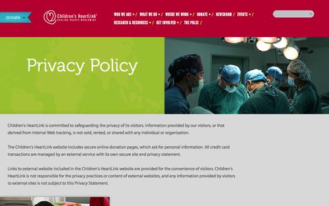 Screenshot of Privacy Page childrensheartlink.org - Privacy Policy | Children's HeartLink - captured Sept. 29, 2014