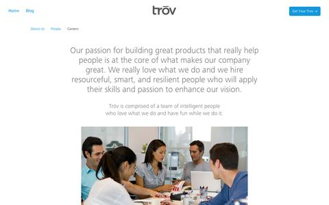 Screenshot of Jobs Page trov.com - Trōv | Careers | Trōv - captured Sept. 17, 2014