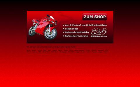 Screenshot of Home Page siribikes.de - SiRi  – Bikes & Parts - gebrauchte Motorradteile und Ersatzteile Teilehandel Gebrauchtmotorräder Rahmenvermessung - captured June 11, 2016