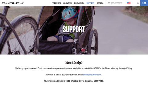 Screenshot of Support Page burley.com - Support - captured Sept. 23, 2016