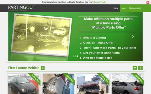Screenshot of Home Page partingout.com - PartingOut.com | A Market for used car parts | Buy and sell used car parts - captured Sept. 27, 2018