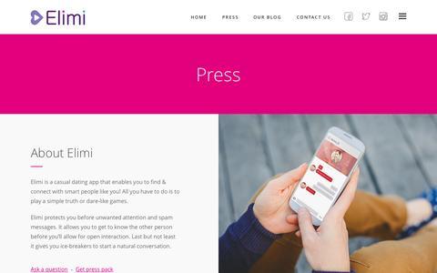 Screenshot of Press Page elimiapp.com - Press |  Elimi - captured Nov. 11, 2015