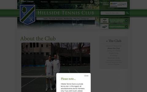 Screenshot of About Page hillsidetennis.ca - About the Club   Hillside Tennis Club - captured Oct. 1, 2014
