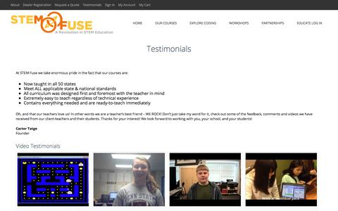 Screenshot of Testimonials Page stemfuse.com - Testimonials | STEM Fuse - captured July 26, 2018
