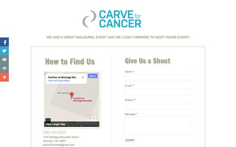 Screenshot of Privacy Page Contact Page carveforcancer.com - Carve For Cancer - Contact - captured Oct. 22, 2014