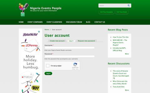 Screenshot of Login Page nigeriaeventspeople.com - User account | Nigeria Events People - captured Dec. 4, 2017