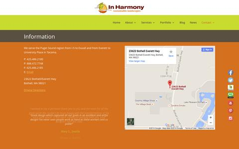 Screenshot of Contact Page inharmony.com - Information | In Harmony - captured Feb. 10, 2016