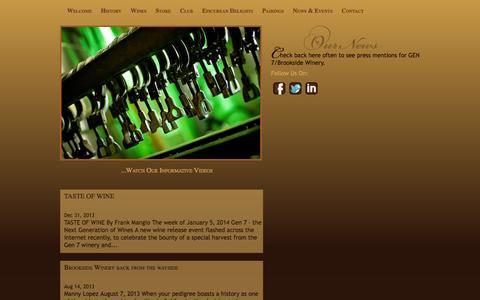 Screenshot of Press Page gen7wines.com - Brookside Winery, LLC/ Gen7 Wines News - captured Sept. 26, 2014