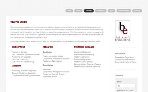 Screenshot of Services Page brandengineers.com - Strategic brand services at any lifecycle phase - The Positioning & Strategy Agency - captured Oct. 1, 2014