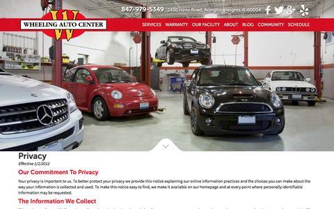 Screenshot of Privacy Page wheelingautocenter.com - Privacy - Wheeling Auto Center - captured Feb. 27, 2016