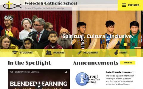 Screenshot of Home Page weledeh.nt.ca - Home | Yellowknife Catholic Schools - captured Feb. 25, 2018