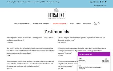 Screenshot of Testimonials Page ultraluxeskincare.com - Testimonials - UltraLuxe Skincare - captured June 16, 2017