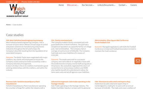 Screenshot of Case Studies Page walshtaylor.co.uk - Case studies   Walsh Taylor - captured June 11, 2017