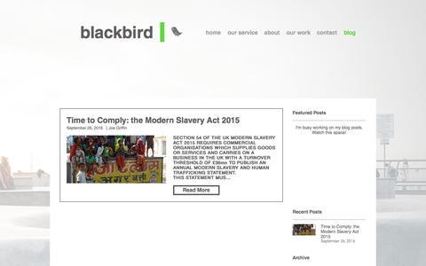 Screenshot of Blog weareblackbird.com - blackbird. a small sustainability agency - captured Nov. 23, 2016