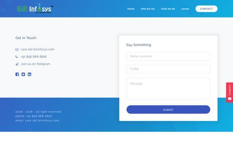 Screenshot of Contact Page birinfosys.com - Website Development, Website Designing, Mobile App Development, Jalandhar, Punjab - captured Nov. 6, 2018