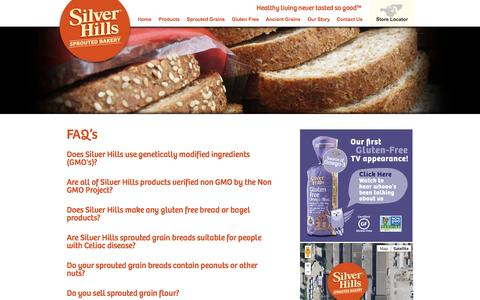 Screenshot of FAQ Page silverhillsbakery.ca - FAQ's | Healthy Living, Sprouted Grains & Non GMO Bread - captured Oct. 26, 2014