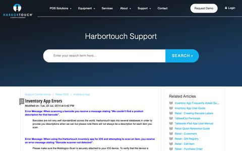 Screenshot of Support Page harbortouch.com - Inventory App Errors : Harbortouch Support Center - captured Oct. 9, 2018