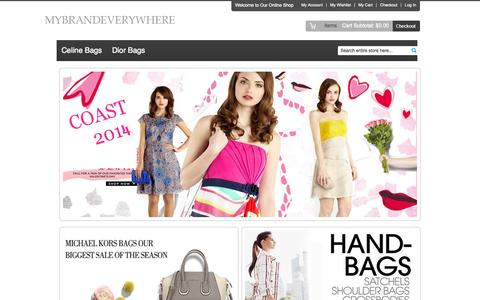 Screenshot of Home Page mybrandeverywhere.com - Cheap Women Celine Bags And Dior Handbags Outlet And Discount Balenciaga Handbags UK Sale - captured Sept. 30, 2014