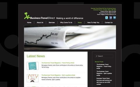Screenshot of Press Page businesstraveldirect.co.uk - News | Business Travel Direct | Making a World of Difference - captured Sept. 30, 2014