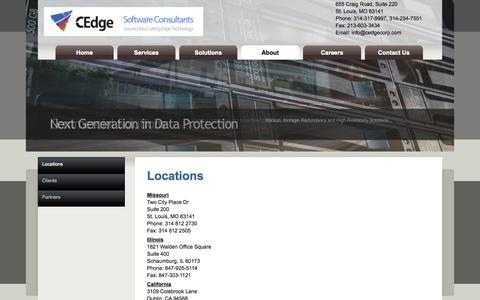 Screenshot of Locations Page cedgecorp.com - Locations - captured Oct. 1, 2014