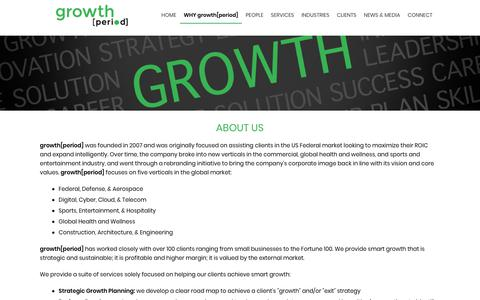 Screenshot of About Page growthperiod.com - About Us - growth. - growth[period] -  Business Development and Merger and Acquisition Support - captured Oct. 22, 2018