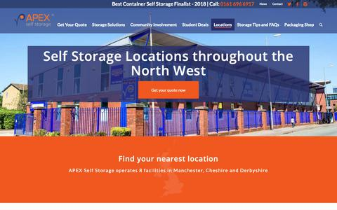 Screenshot of Locations Page apexselfstorage.co.uk - Apex Self Storage branch locations - captured Oct. 3, 2018