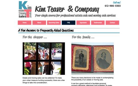 Screenshot of FAQ Page kimteaver.com - Upcoming Estate Sale and Moving Sales in the Twin Cities - captured Oct. 15, 2018