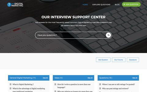 Screenshot of Home Page digitalmarketinginterview.com - Digital Marketing – Interview Questions - captured March 9, 2018