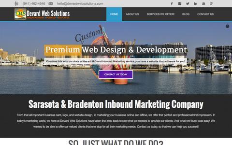 Screenshot of Home Page devardwebsolutions.com - Sarasota, Bradenton Website Design, SEO Marketing Company - captured Jan. 7, 2016