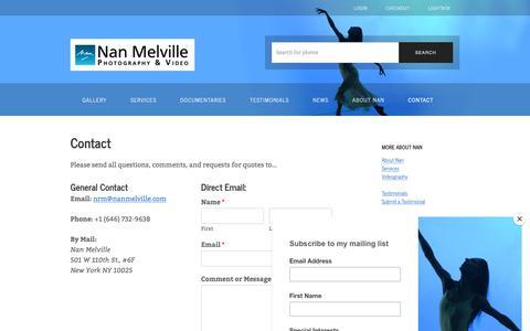 Screenshot of Contact Page nanmelville.com - Contact – Nan Melville - captured Dec. 20, 2018
