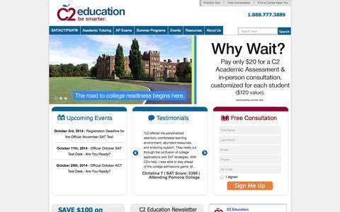 Screenshot of Home Page c2educate.com - C2 Education | Premier Learning Centers | Test Prep & Tutoring - captured Sept. 24, 2014