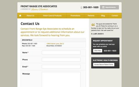 Screenshot of Contact Page visionsource-frea.com - Contact Information for Front Range Eye Associates in Broomfield CO - captured Oct. 6, 2014