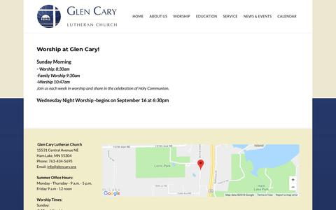 Screenshot of Services Page glencary.org - Services - Glen Cary Lutheran Church - Ham Lake, MN - captured Sept. 28, 2018