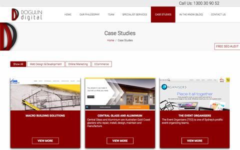 Screenshot of Case Studies Page dogulindigital.com.au - Case Studies - Dogulin Digital - captured Oct. 12, 2017